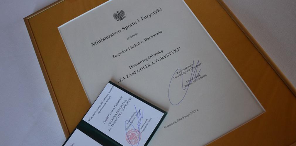 Szkoła w Baranowie nagrodzona przez Ministerstwo Sportu i Turystyki